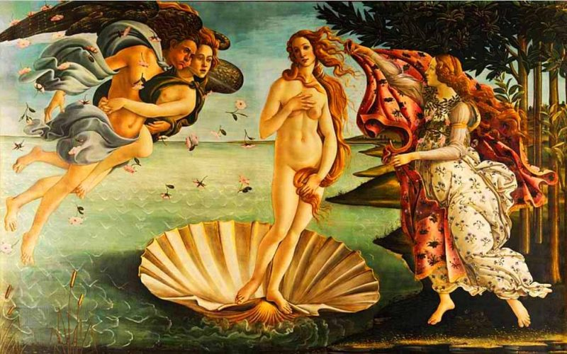 Painting of beautiful nude woman standing on a giant scallop shell.