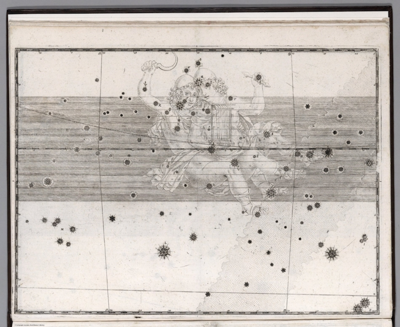Antique star map with etching of twin boys among many stars in black on white.