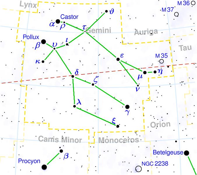 A star map of Gemini.
