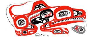 Artwork depicting Gunakadeit, a sea monster in Tlingit mythology.