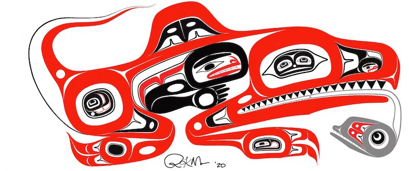 Red and black drawing of lizard-like creature from Native American culture.