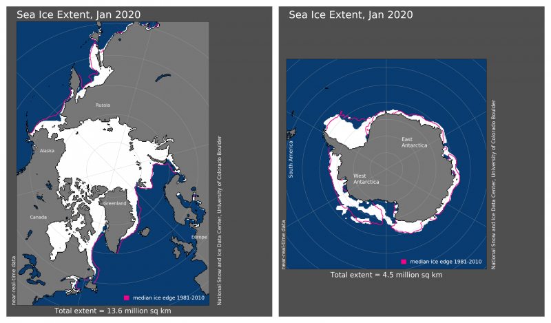 Maps of Arctic and Antarctic regions with extent of ice at present and in the past.