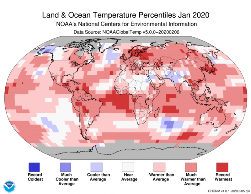 Map of Earth covered mostly with pink, dark pink and red areas showing higher than average temperatures.