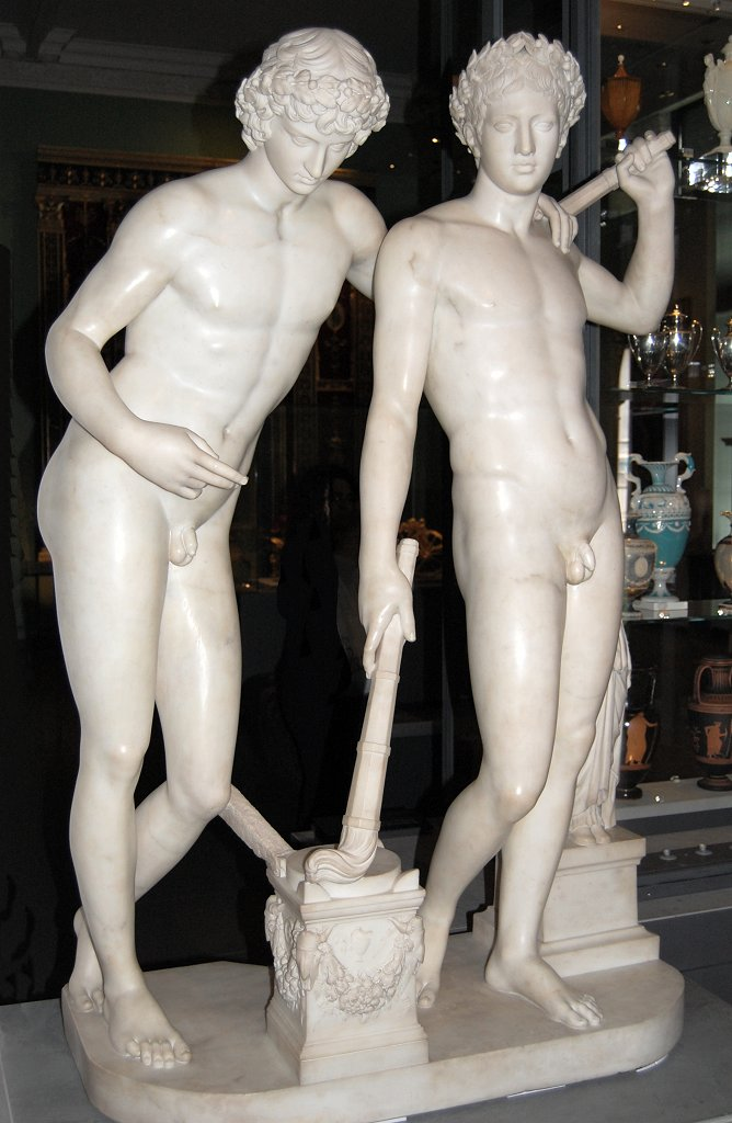 Marble statue of two nude young men.