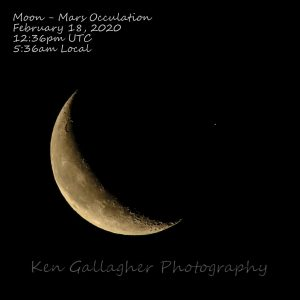 Waning moon with Mars nearby.