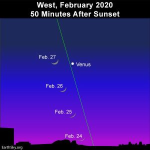 Young moon and Venus adorns the western evening twilight in February 2020.