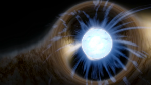 A white ball representing a star, with distorted-looking lines around it.