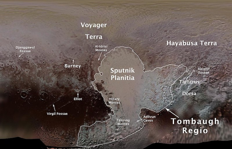 A map of the Tombaugh Regio area, labeled with named features inside and outside the outlined area.