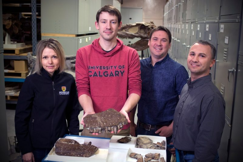 A photo showing four of the paper authors standing behind a table with fossils on it.