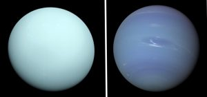 Bluish-green globe and bluish globe with streaks, side-by-side.