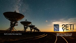 Radio telescopes with starry sky and text annotations.