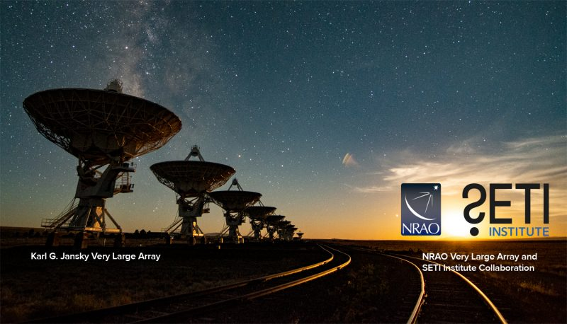 Dish-shaped radio telescopes on short towers with starry sky and text annotations.