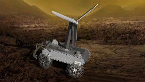 Rover with propeller on top, on rocky ground.