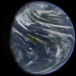 Blue and brown globe with white streaks.