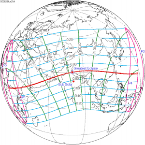 Map of annular solar eclipse on June 21, 2020.
