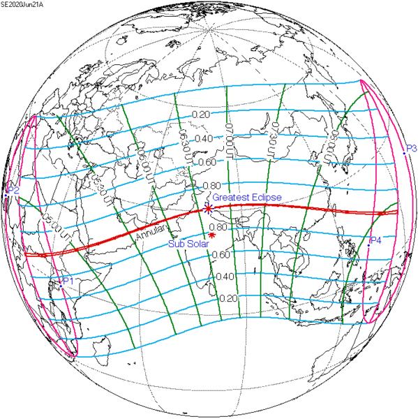 World globe with red line curving from Africa through Middle East, Asia, and Pacific Ocean.