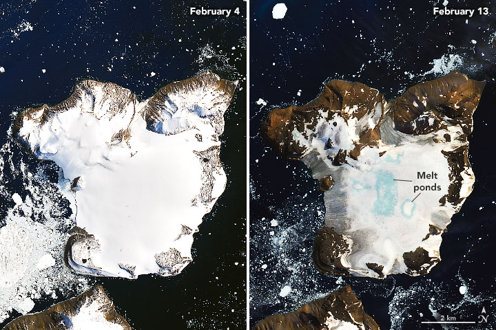 Two orbital views of an island covered with ice on the left, with much of the ice melted off and oval blue spots on the right.