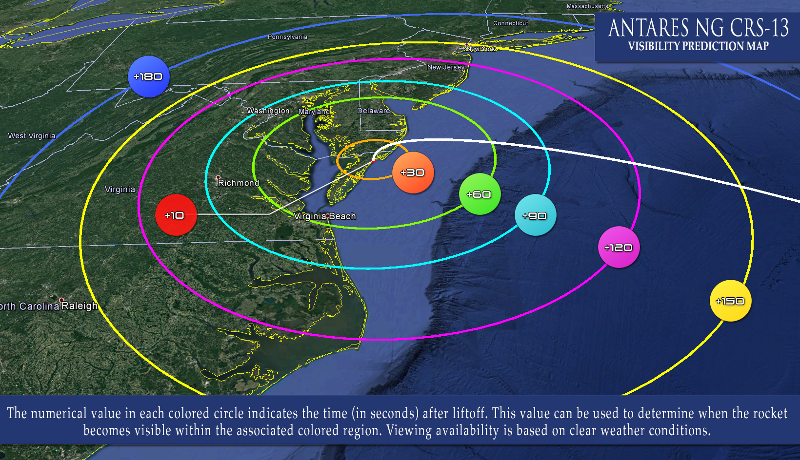 Map of US east coast with concentric circles in different colors centered on a point on the coast.