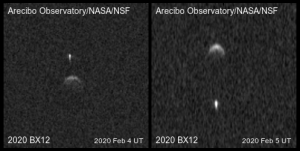 Two side-by-side images of 2020BX12 on February 4 and 5, showing the movement of the satellite.