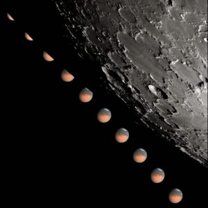 Gray and orange balls lined up diagonally on a black background. Large bumpy gray shape on the right.