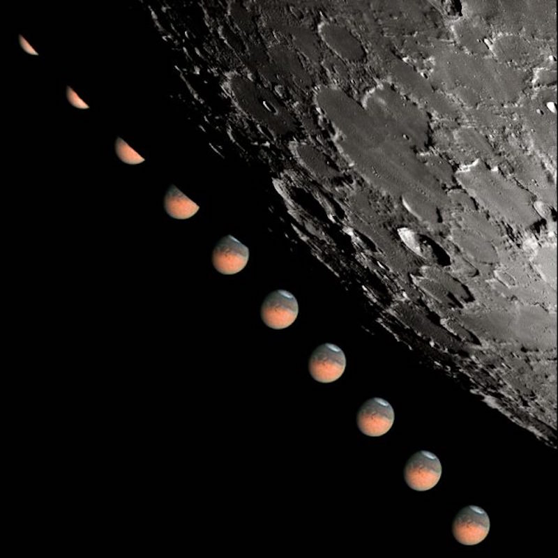Gray and orange balls (sequence of positions of Mars) lined up diagonally on a black background, some half-hidden behind moon on the right.