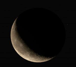 Waning moon and Mars.