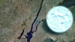 White round neutron star image superimposed over a satellite image of Manhatten.