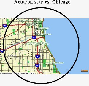 Map of the city of Chicago, with a circle drawn to indicate that the diameter of a neutron star is similar.
