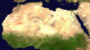 Huge desert across northern Africa; tiny islands off Africa's coast.