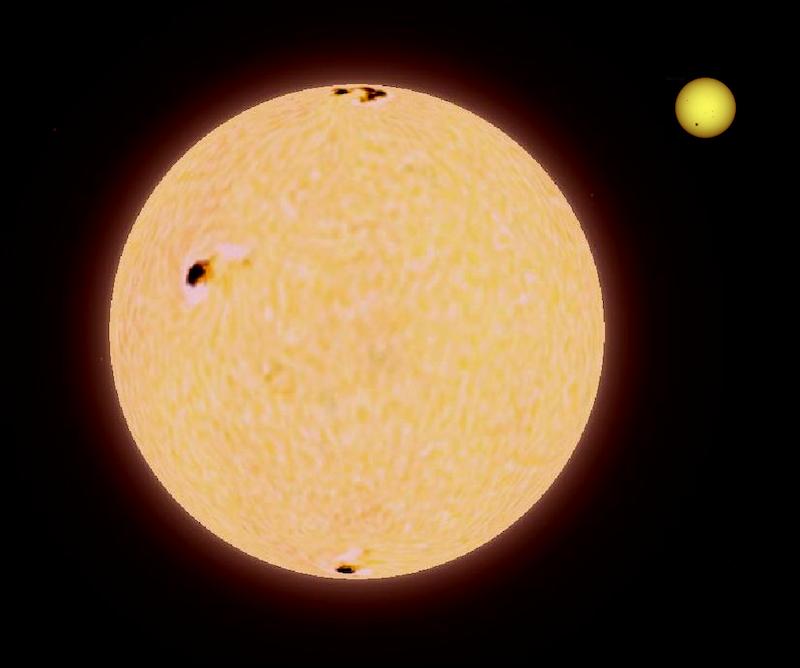 Ilustração de dois círculos com características de superfície semelhantes às do sol, um muito, muito maior que o outro.