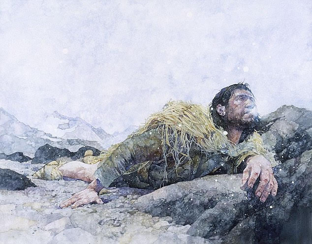 Bearded man in fur garb struggling to crawl over icy, rocky landscape.