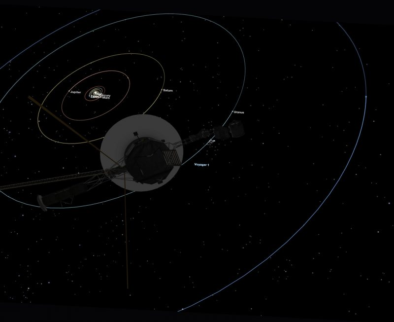 Diagram of solar system planetary orbits with spacecraft in foreground.