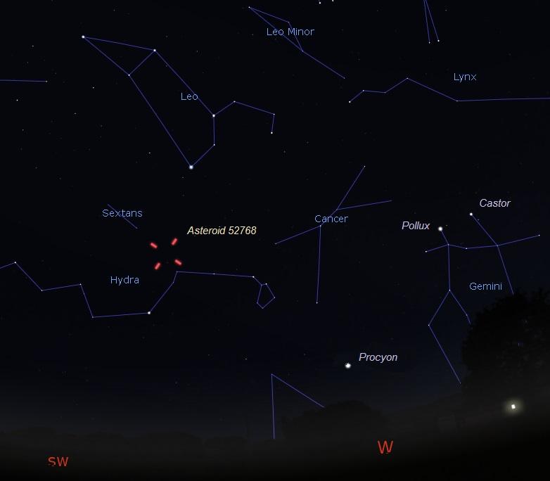 Gráfico con constelaciones y cuatro marcas alrededor de la posición del asteroide.