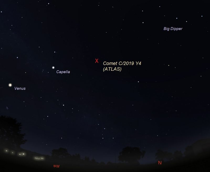 Star chart with Big Dipper, Venus, Capella and location of comet.