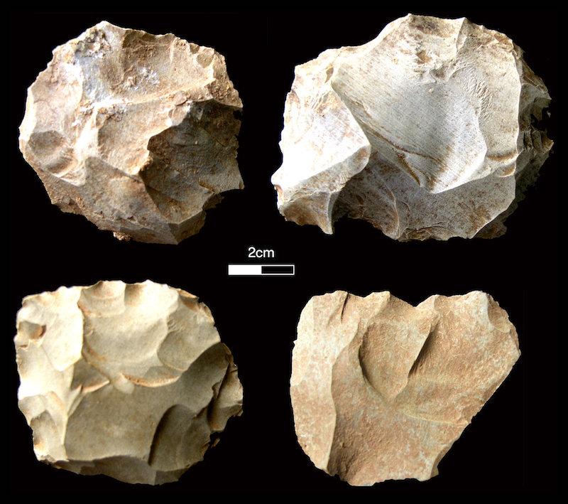 Four roundish, sharp-edged stone tools from Dhaba.