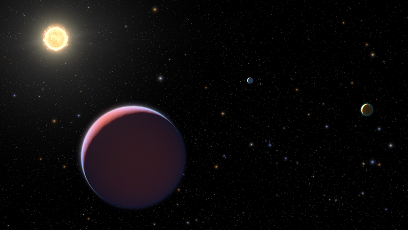 Three planets, one red, one gold, and one blue, near sun-like star with other stars in background.