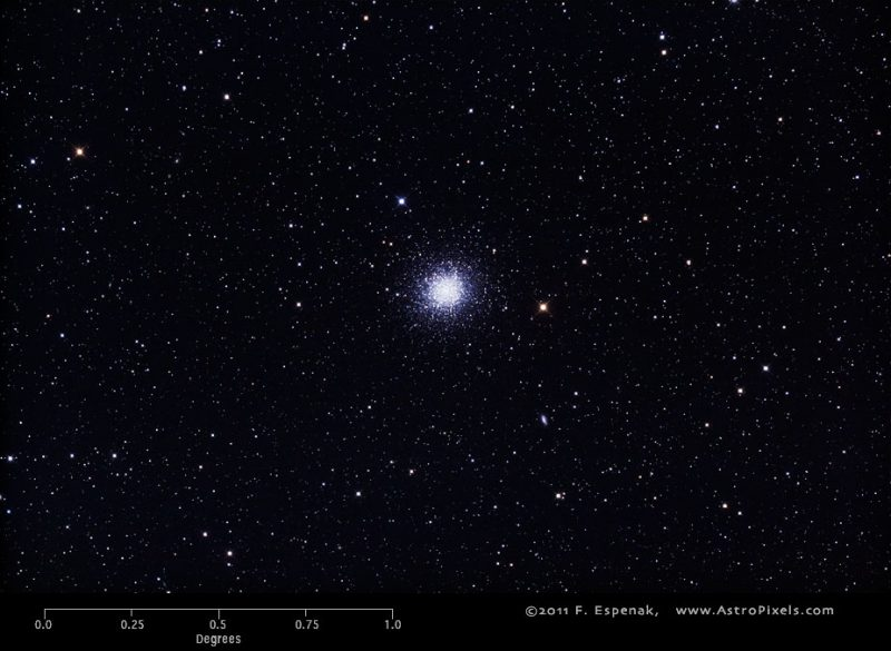 A smallish fuzzy round star cluster, set against a star field.