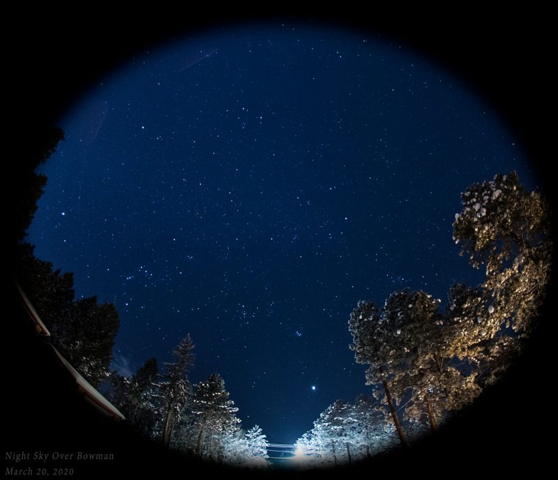 Wide shot showing many stars in the southwestern sky in early evening, as viewed from Colorado.