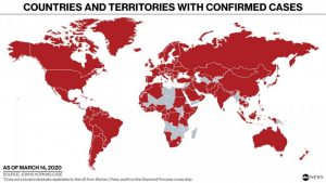 Map showing that nearly every country around the world has confirmed coronavirus cases.