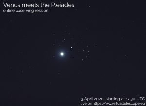 Poster from Virtual Telescope Project showing VEnus near the Pleiades in 2012.