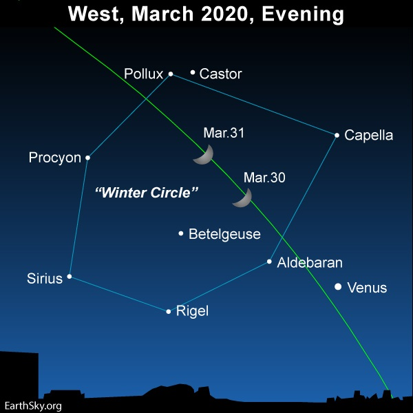 Moon inside Winter Circle asterism of stars.