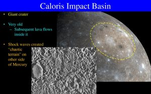 Grayish surface e of a planet with yellow dashed circle and text annotations on black background.