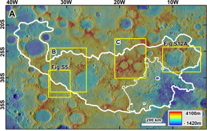 Colored terrain with white outline, yellow rectangles and text annotations.