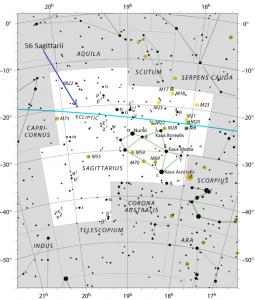 Sky chart of the constellation Sagittarius.