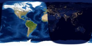 Map of day and night sides of Earth.