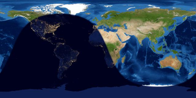 Worldwide map of day and nights sides of Earth at full moon.