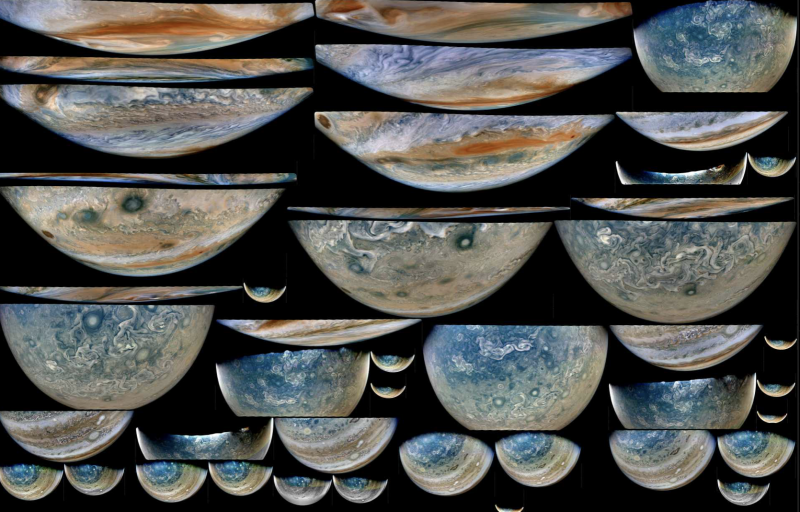 More than 40 slice-like partial images of Jupiter.