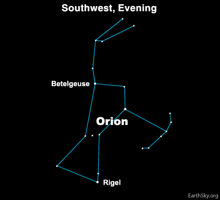 Sky chart of Orion the Hunter.