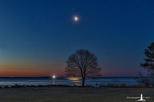 Moon and planets over a hourse, in a beautiful twilight sky.