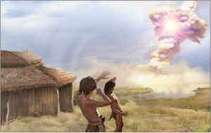 Illustration of 2 people looking at an explosion in the sky next to a grass hut.